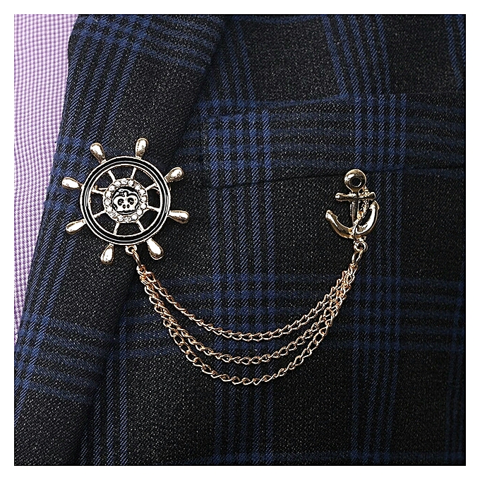 Brooch Pin Anchor Rudder Suit Lapel Collar Accessory With Chain - Gold