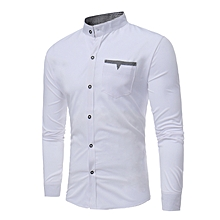 8b36ee270d375 Men Shirts New Arrivals Slim Fit Male Shirt-White