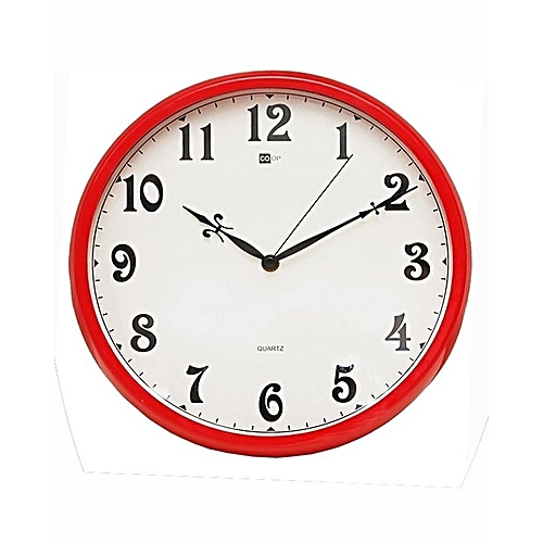 Quartz Domestic And Office Red Round Wall Clock - B7