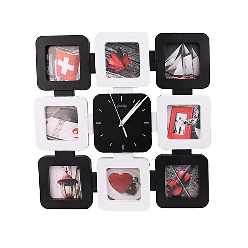 Monochrome Multi-Picture Frame & Wall Clock