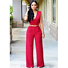 03e45c00f8ff Wide Leg Jumpsuit Overalls 2016 Long Trousers Outfits Fashion Women Black  Print Gold Belted Ladies Playsuits