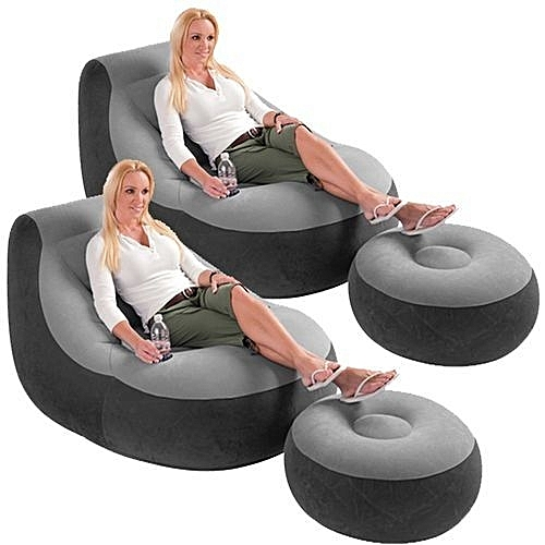 Inflatable Lounge Chair And Foot Rest With Pump