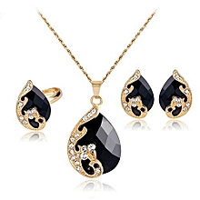 Women  039 s Pendant Necklace Earrings Ring Jewelry Set ... bf92544781d1