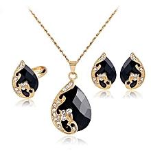 Women's Rhinestone Pendant Necklace Earrings Ring Party Wedding Jewelry Set (Black