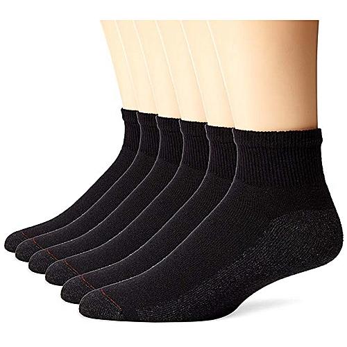 Quality 6 Pairs Unisex Ankle Socks - Black