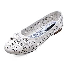 Girls White Slip-On Dolly Ballerina Pumps Shoes b9c7ec660b32