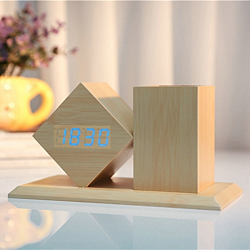 Voice-activated LED Carrying Pen Wooden Clock-blue