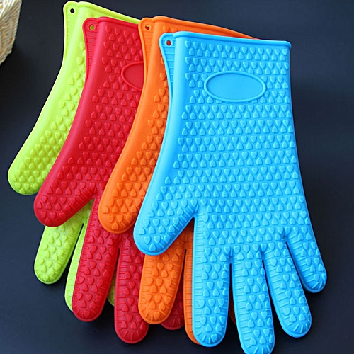 Kitchen Silicone Gloves Insulated Heat Pot Microwave Oven Hot Plate Mitts 2pc