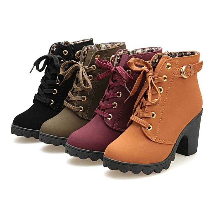 ... Womens High Heel Lace Up Ankle Boots Ladies Buckle Platform Shoes(EU  Size) 8d97119e7f0d
