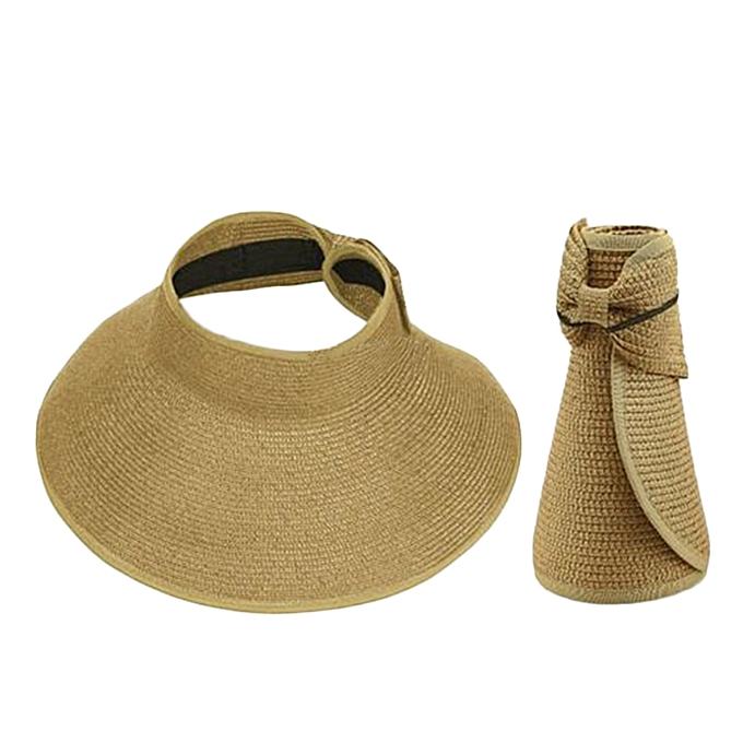 d307dfc07fc Ladies Women Summer Sun Beach Folding Roll Up Wide Brim Straw Visor Hat Cap