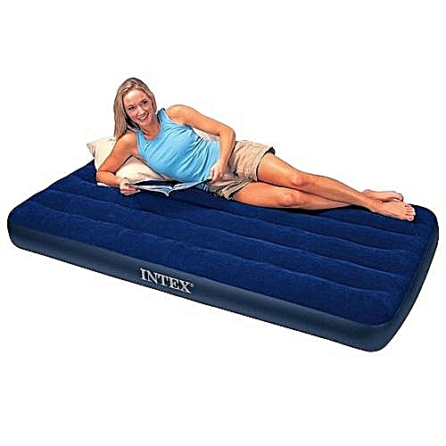 Intex Air Bed With Double Quick Hand Pump - Blue