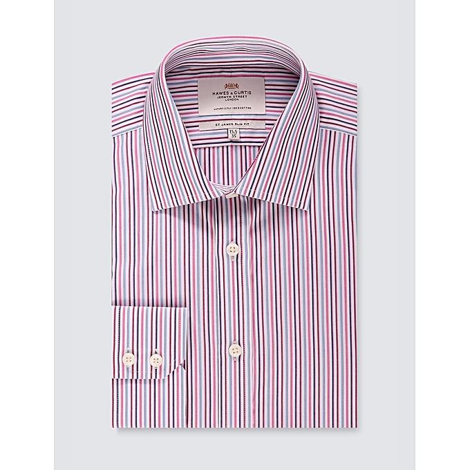 1dad58b8b8 Men's Formal Blue & Pink Multi Stripe Slim Fit Shirt - Single Cuff - Easy  Iron