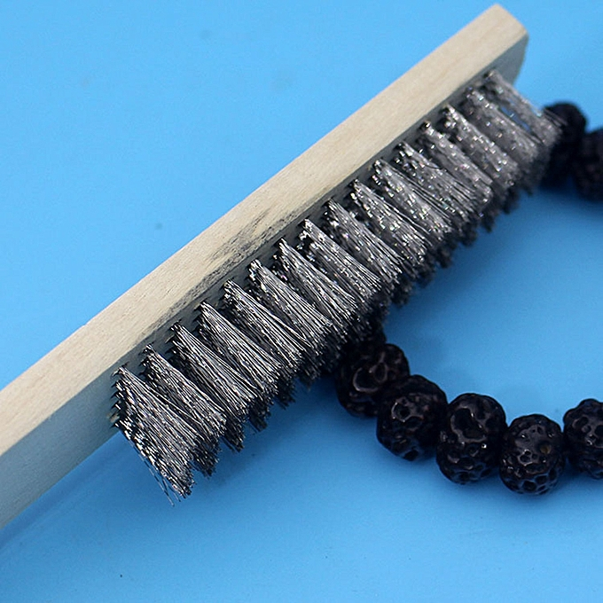 200mm Wood Handle Screw Thread Brush Stainless Steel Wire Cleaning Brush Hand Tool