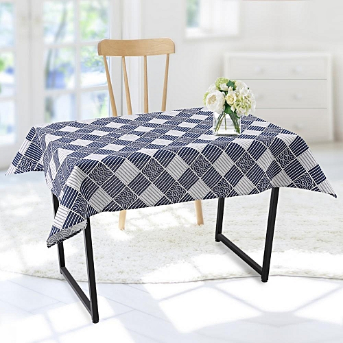 Lattice Pattern Tablecloth Cotton Linen Table Covers For Dining Party Cafe (100 * 140cm)