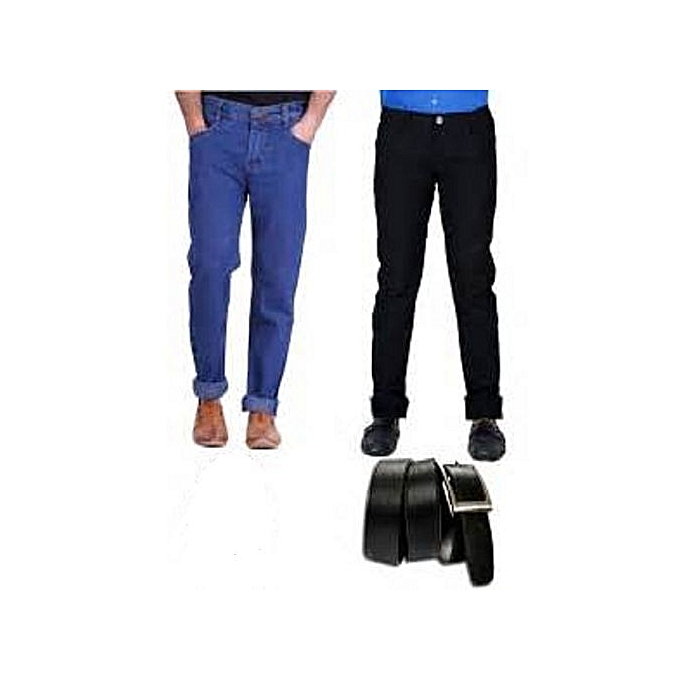 1e97d3e9 Fashion 2 In 1 Men Quality Jeans With Black Belt - Black And Blue ...