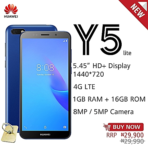 Y5 Lite 5 45-Inch HD+ (1GB, 16GB ROM) Android 8 1 Oreo Go, 8MP + 5MP Dual  SIM 4G Smartphone - Blue (+ Free Key Ring)