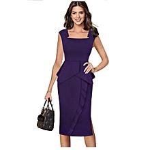 e8b47c1c863 Elegant Square Neck Ruffles Peplum Patchwork Side Slits Sheath Dress