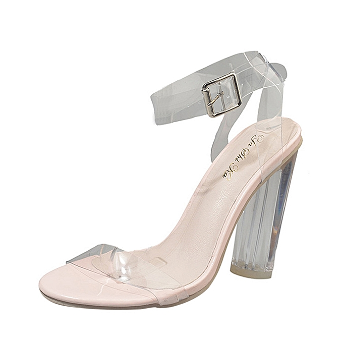 3edc923b664 Bliccol High Heel Shoes Fashion Women Hasp Transparent Thick Heel High-Heeled  Shoes Sandals Clear