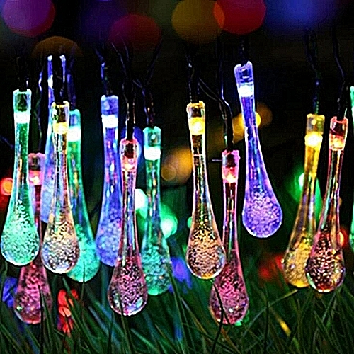 Solar Lights String 30LED Water-drop Droplets Home Garden Christmas Party Decor