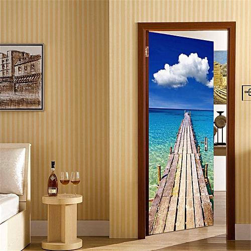 282439942695 Door Wall Fridge Sticker Wrap Mural Scene Seaside Landscape Self Adhesive 3D NEW-Multi