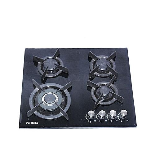 Four Burner Glass Gas Hob - black