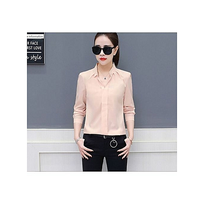 7d48dffd1e2 Mengxiner Fashion Women Office Formal Plain Sexy Long Sleeve Shirt ...