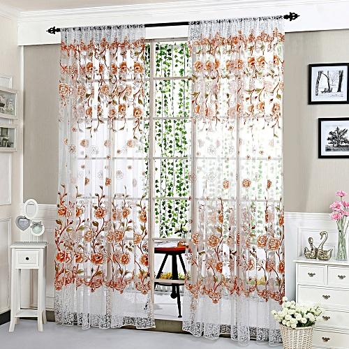Bioaldla Store Peony Sheer Curtain Tulle Window Treatment Voile Drape Valance 1 Panel Fabric