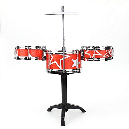 Red Jazz Drummer Kids Toys Drum Set Drum Percussion Music Sound Play Band