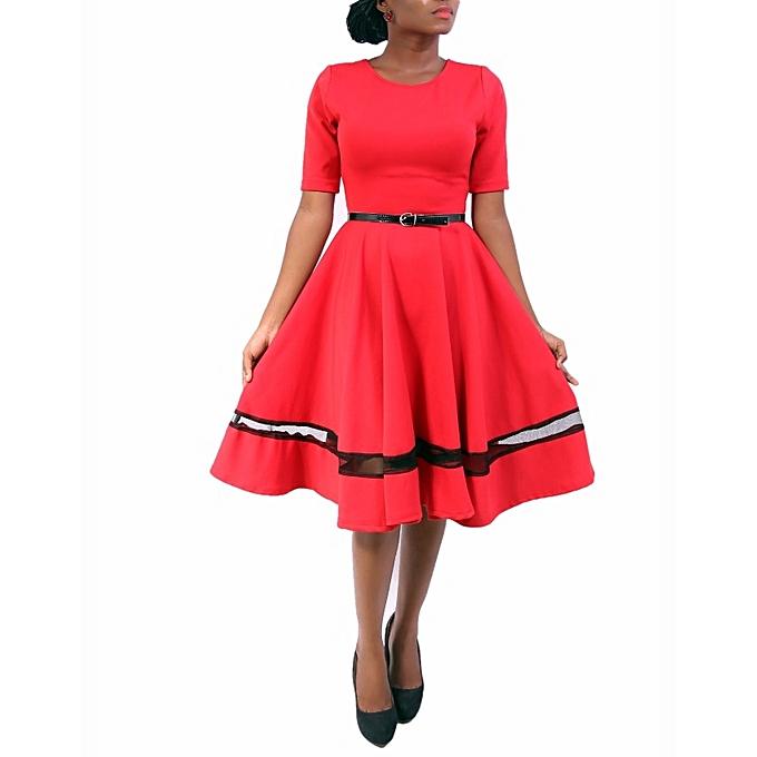 b0c7afa15b 21 Attire Skater Dress With Net Detail - Red Black