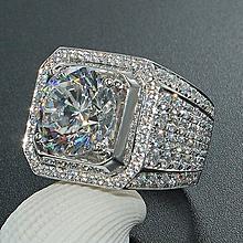 f71a1c437 Fashion New Domineering Men's Ring Full Diamond Inlaid Zircon Ring