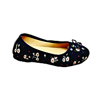 0ec22c570cd Ladies Floral Ballerinas - Navy Blue