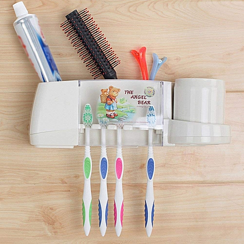 Multi Toothbrush Toothpaste Holder Storage Organizer Set With Transparent Lid - Wall Mounted