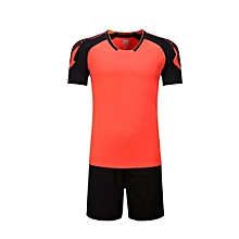 Men O-neck Soccer Jerseys Uniforms Set Short Sleeve New Style-Orange b573ad6f5