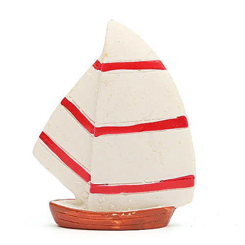 Figurine Craft Ornament Miniature Decor DIY Micro Landscape Double Sail Sailing White