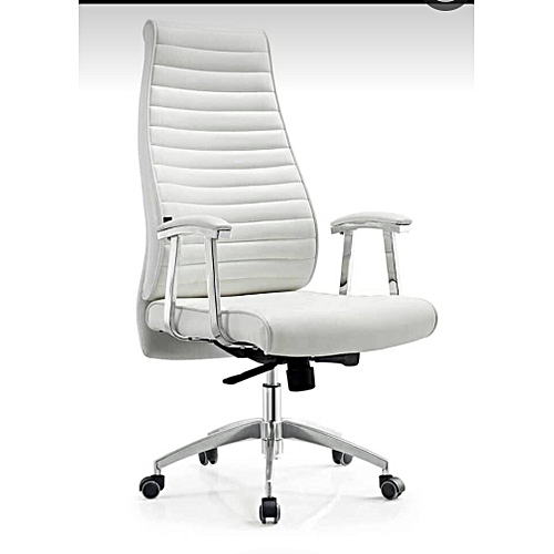 Executive Office Leather High Chair - White