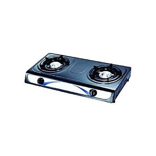 Double Burner Stainless Steel/Black Gas Cooker Stove