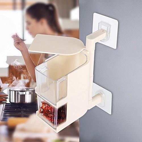 Sticking Rotary Seasoning Kitchen Pepper Sugar Jar Spice Rack Food Box Storage