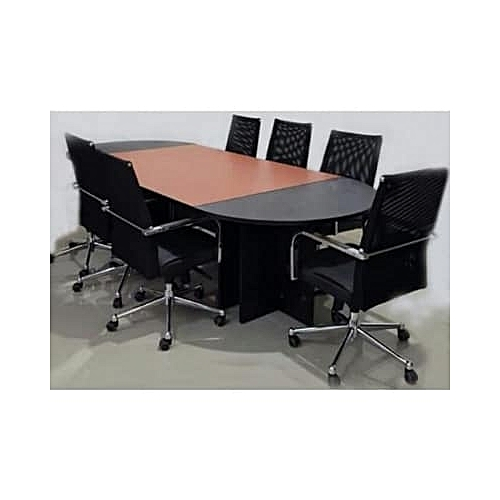 Cherry And Black 8-seater Conference Table