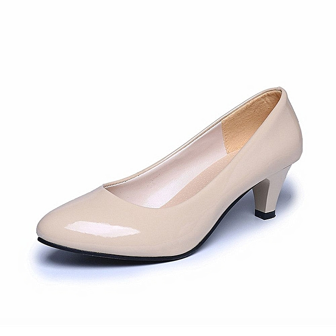 Fashion Nude Shallow Mouth Women Office Work Heels Shoes