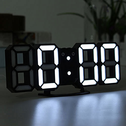 3D LED Digital Wall Clock 4 Brightness Display Alarm Clock Dimmable Nightlight Glowing Hanging Living Room Bedroom Decoration (WHITE(White Frame))