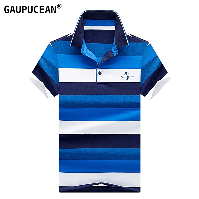 a1dd43b37eac ... Man Short Sleeve Polo Shirt 95% Cotton 5% Spandex Soft Summer Male  Striped Embroidery ...