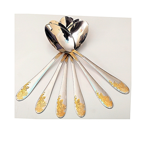 Six In A Pack Stainless Steel Silver Table -Silver With Touch Of Gold