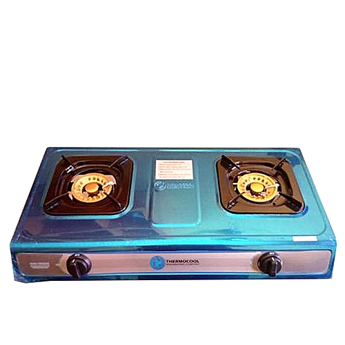 2 Burner ThermocoolStainless Steel Table Gas Cooker - Silver/Blue