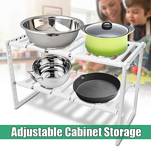 Kitchen Cabinet Under Sink Storage Adjustable Shelf Shelving Organizer Bathroom