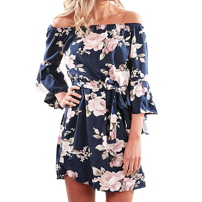 0df9fc6d24 Women Summer Off Shoulder Floral Short Mini Dress Ladies Beach Party Dresses  L