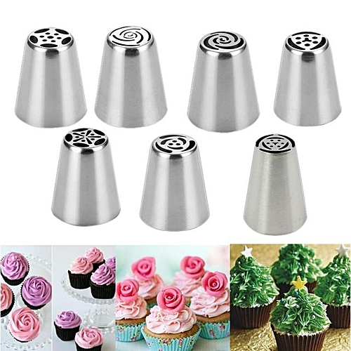 7pcs Steel Cake Icing Piping Decorating Nozzles Tips Baking Tool -Silver