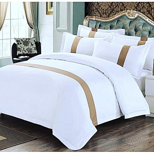 White Golden Duvet Set, Bedsheet + 4pillowcases