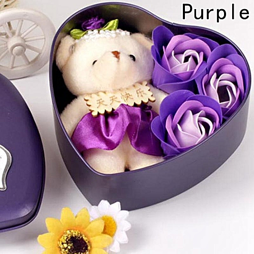Eleganya Romantic Valentine's Day Bath Soap Gift Box With 3 Rose Flower+1 Bear