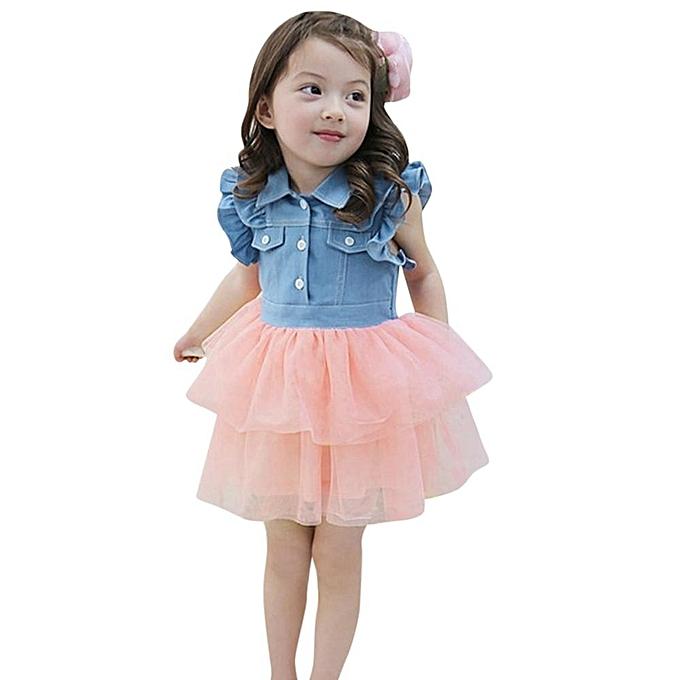 1d2ea11763 Toddler Kids Baby Girl Summer Princess Denim Patchwork Tulle Tutu Party  Dress Musiccool