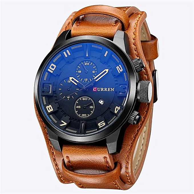 124fd274d6 Luxury Top Brand Curren Leather Strap Military Sport Watch.